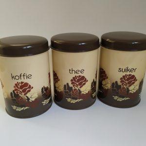 Vintage Voorraadbussen Koffie/Thee/Suiker van Brabantia