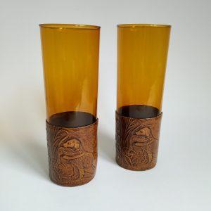 Vintage Drinkglazen in houder, glas kleur Amber