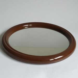 Vintage ronde (bruine) spiegel van Tiger