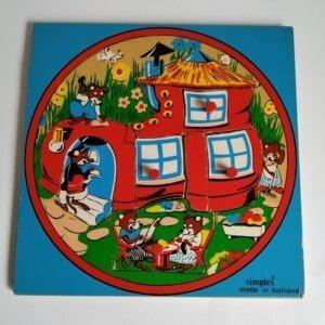 Vintage kinderpuzzel/noppenpuzzel van een huis met dieren van Simplex