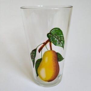 Vintage limonade glas van VMC Reims France met afbeelding van een peer