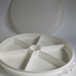 Vintage snackschaal / partyschaal van Tupperware, kleur wit