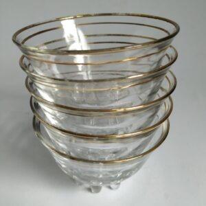 Vintage glazen schaaltjes met goud decoratie